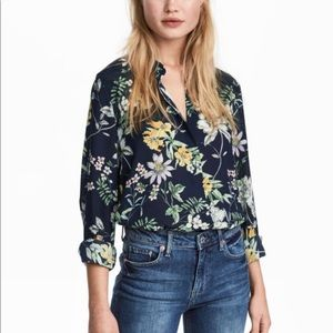 H&M Navy Blue Floral Button-down Long Sleeves Top